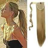 26' 65cm Extensión Clip de cola para el cabello en cabello rubio ceniza - Cola de caballo Recto...