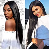 Lace Front Wig with Baby Hair Bleached Knots Adjustable Straps 130% Density Glueless Natural...