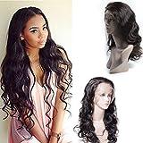 Maxine - Peluca 8A de pelo ondulado y de encaje frontal, densidad 130%, de pelo humano Remy,...
