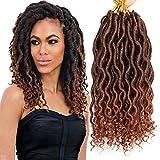 Ondulado Faux Locs Trenzas de ganchillo con extremos rizados Extensión ondulada del cabello...