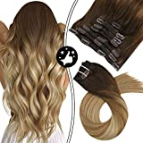 Moresoo 22 pulgadas Clip in Hair Extensions Pelo Extensiones Natural Remy Extensiones de Pelo Clip...