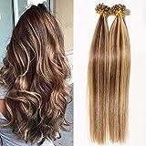 S-noilite® Extensiones de queratina de cabello natural - 55CM - 50 MECHAS (1g/mecha) - Pre bonded...