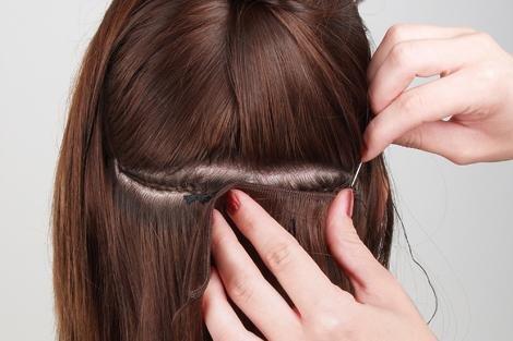Extensión de pelo cosidas